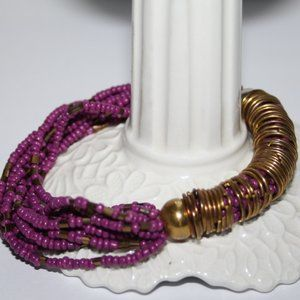 Purple and brass beaded bracelet 8""